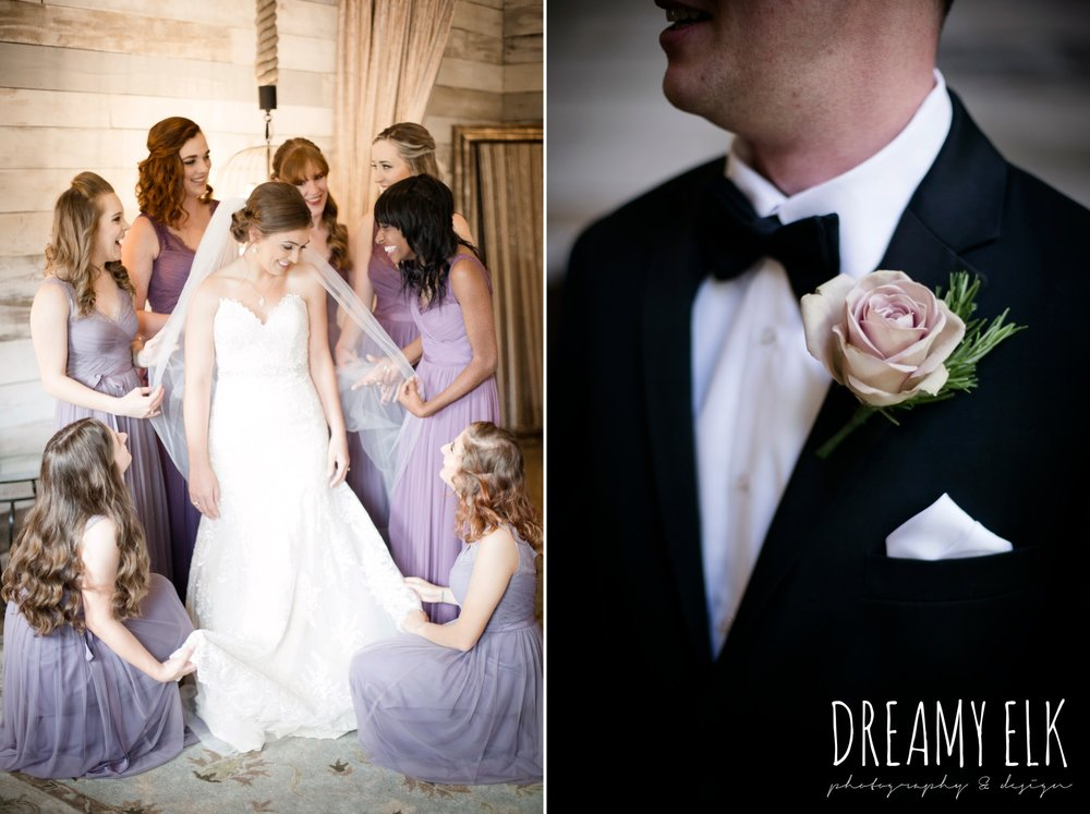 groom, classic tuxedo, bridesmaids, floor length long lavender dresses, bhldn, bride and bridesmaids, getting dressed, tuxedo and boutonniere, summer july wedding, lavender, big sky barn, houston, texas, austin wedding photographer {dreamy elk photography and design} photo