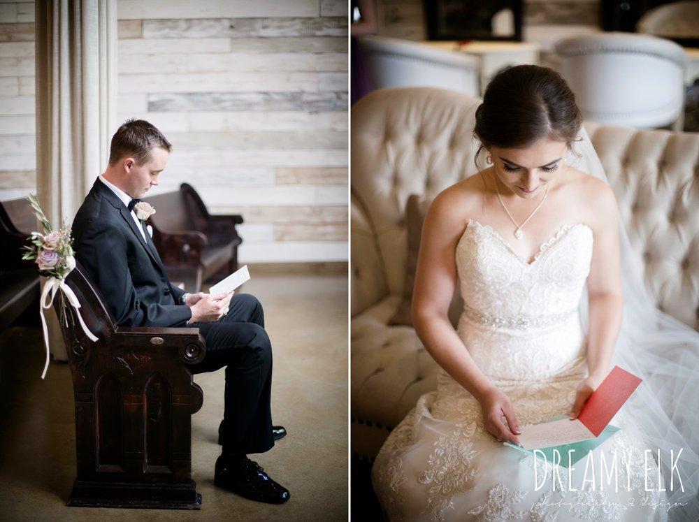 groom, classic tuxedo, bride and groom reading letters, summer july wedding, lavender, big sky barn, houston, texas, austin wedding photographer {dreamy elk photography and design} photo