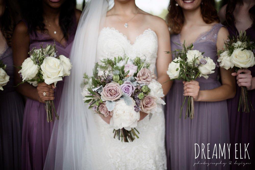 f. dellit designs, lavender and blush bouquet, bridesmaids, floor length long lavender dresses, bhldn, summer july wedding, lavender, big sky barn, houston, texas, austin wedding photographer {dreamy elk photography and design}