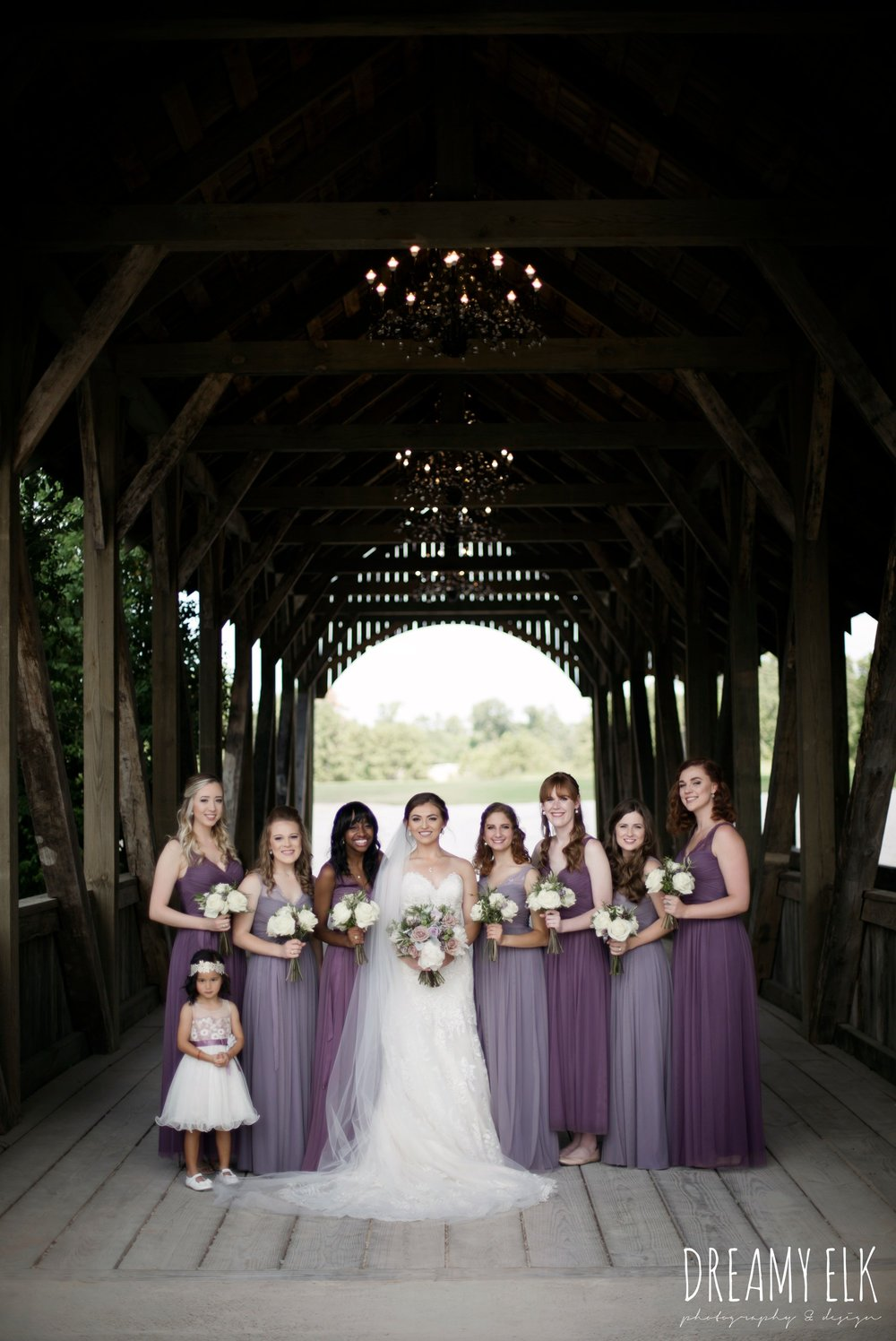 f. dellit designs, lavender and blush bouquet, bridesmaids, floor length long lavender dresses, bhldn, bride, long veil, sweetheart lace strapless fit and flare, wedding dress, wedding hair updo, wedding makeup, summer july wedding, lavender, big sky barn, houston, texas, austin wedding photographer {dreamy elk photography and design}