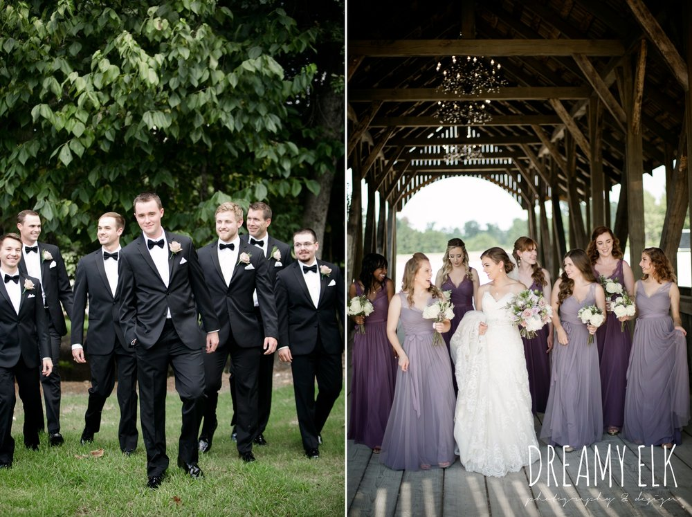 groom, groomsmen, classic tuxedo, bridesmaids, floor length long lavender dresses, bhldn, bride, long veil, sweetheart lace strapless fit and flare, wedding dress, wedding hair updo, wedding makeup, summer july wedding, lavender, big sky barn, houston, texas, austin wedding photographer {dreamy elk photography and design} photo