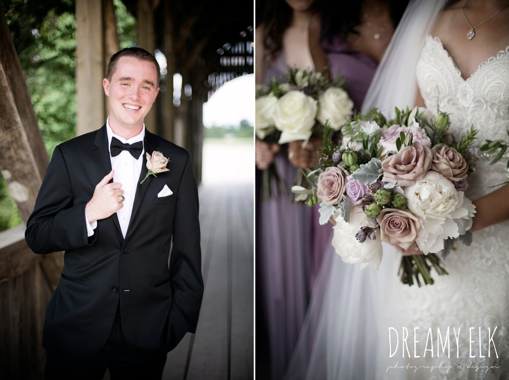 f. dellit designs, lavender and blush bouquet, groom, classic tuxedo, summer july wedding, lavender, big sky barn, houston, texas, austin wedding photographer {dreamy elk photography and design} photo
