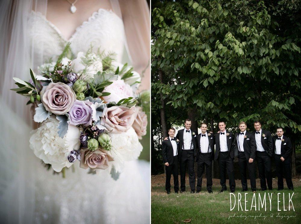 f. dellit designs, lavender and blush bouquet, groom, groomsmen, classic tuxedo, summer july wedding, lavender, big sky barn, houston, texas, austin wedding photographer {dreamy elk photography and design} photo