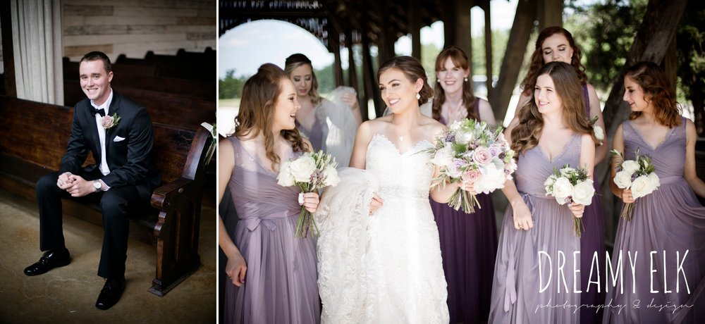 groom, classic tuxedo, bridesmaids, floor length long lavender dresses, bhldn, bride, long veil, sweetheart lace strapless fit and flare, wedding dress, wedding hair updo, wedding makeup, summer july wedding, lavender, big sky barn, houston, texas, austin wedding photographer {dreamy elk photography and design} photo