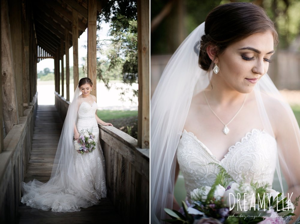 f. dellit designs, lavender and blush bouquet, bride, long veil, sweetheart lace strapless fit and flare, wedding dress, wedding hair updo, wedding makeup, summer july wedding, lavender, big sky barn, houston, texas, austin wedding photographer {dreamy elk photography and design} photo