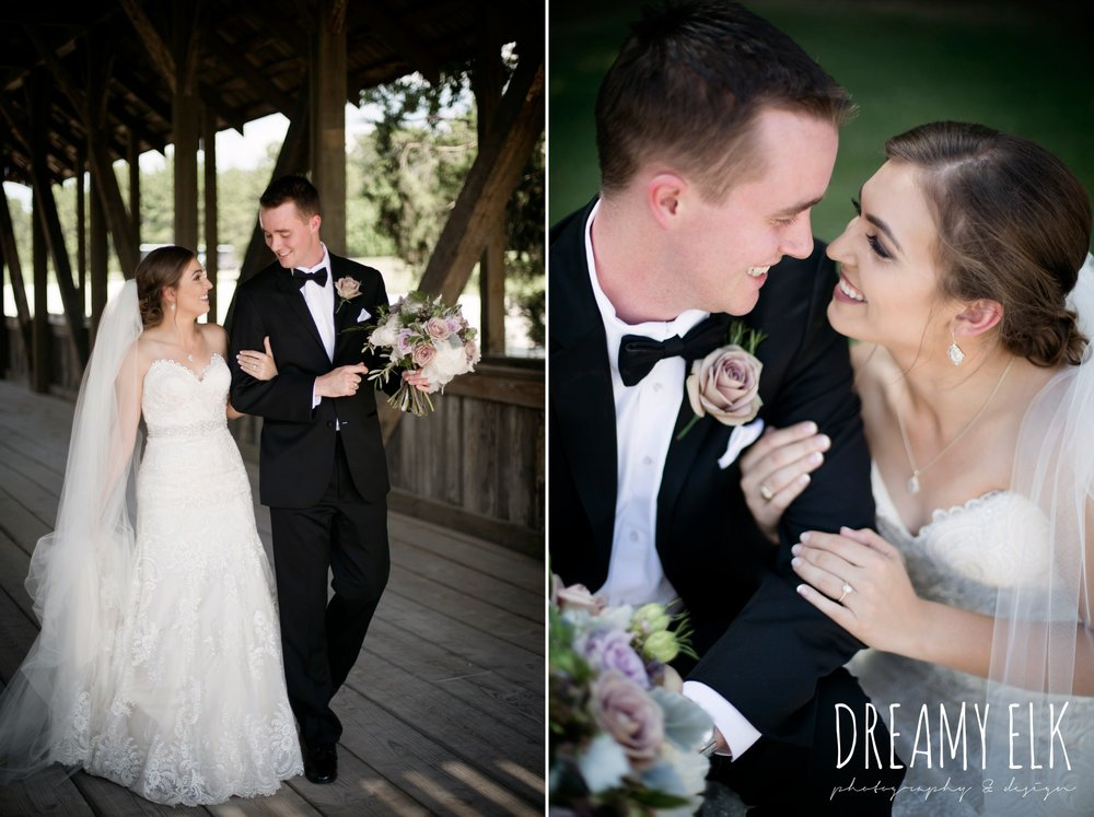 groom, classic tuxedo, bride, long veil, sweetheart lace strapless fit and flare, wedding dress, wedding hair updo, wedding makeup, summer july wedding, lavender, big sky barn, houston, texas, austin wedding photographer {dreamy elk photography and design} photo