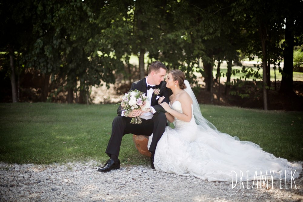 f. dellit designs, lavender and blush bouquet, groom, classic tuxedo, bride, long veil, sweetheart lace strapless fit and flare, wedding dress, wedding hair updo, wedding makeup, summer july wedding, lavender, big sky barn, houston, texas, austin wedding photographer {dreamy elk photography and design} photo