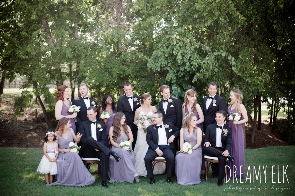 f. dellit designs, lavender and blush bouquet, groom, groomsmen, classic tuxedo, bridesmaids, floor length long lavender dresses, bhldn, bride, long veil, sweetheart lace strapless fit and flare, wedding dress, summer july wedding, lavender, big sky barn, houston, texas, austin wedding photographer {dreamy elk photography and design} photo