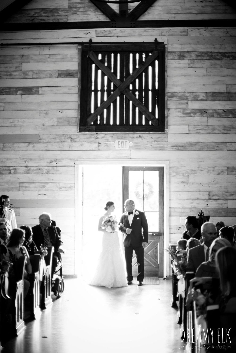 indoor wedding ceremony, bride and dad walking down the aisle, summer july wedding, lavender, big sky barn, houston, texas, austin wedding photographer {dreamy elk photography and design} photo