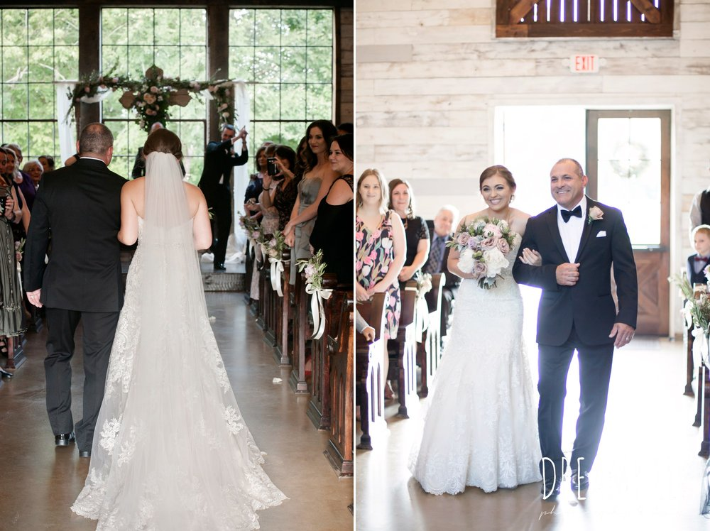 indoor wedding ceremony, bride and dad walking down the aisle, summer july wedding, lavender, big sky barn, houston, texas, austin wedding photographer {dreamy elk photography and design} photo