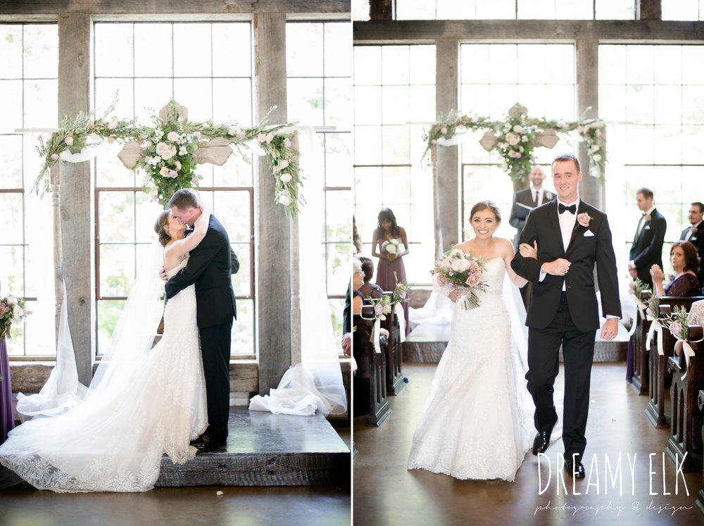 f. dellit designs, lavender and blush bouquet, bride and groom kissing, indoor wedding ceremony, summer july wedding, lavender, big sky barn, houston, texas, austin wedding photographer {dreamy elk photography and design} photo