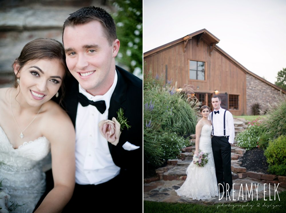 groom, classic tuxedo, bride, long veil, sweetheart lace strapless fit and flare, summer july wedding, lavender, big sky barn, houston, texas, austin wedding photographer {dreamy elk photography and design} photo