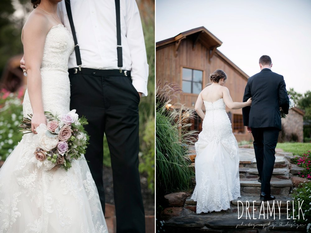f. dellit designs, lavender and blush bouquet, groom, classic tuxedo, bride, long veil, sweetheart lace strapless fit and flare, summer july wedding, lavender, big sky barn, houston, texas, austin wedding photographer {dreamy elk photography and design} photo