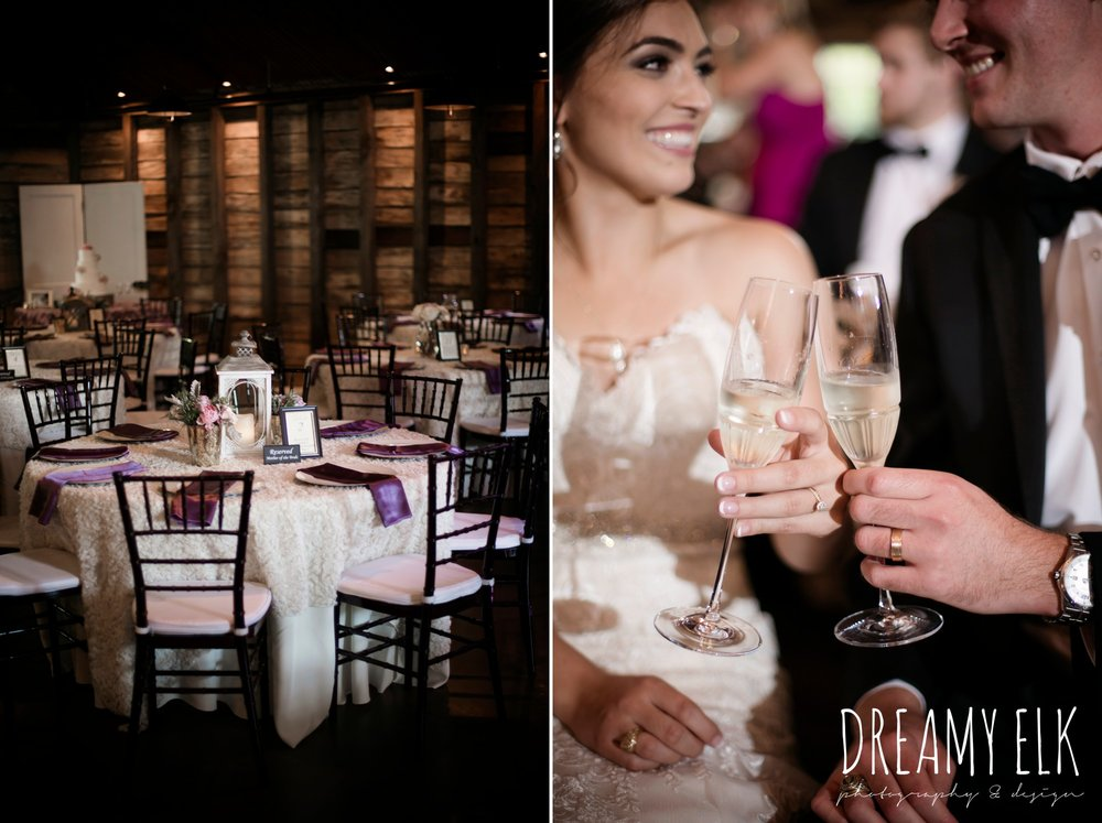 events to remember, bride and groom with glasses of champagne, indoor wedding reception, summer july wedding, lavender, big sky barn, houston, texas, austin wedding photographer {dreamy elk photography and design} photo