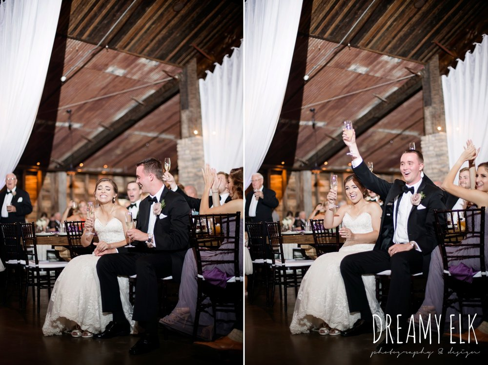 bride and groom laughing during toasts, summer july wedding, lavender, big sky barn, houston, texas, austin wedding photographer {dreamy elk photography and design} photo