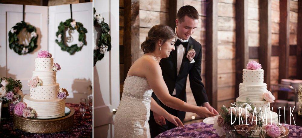 virginia's cakes, bride and groom cutting the cake, four tier wedding cake, summer july wedding, lavender, big sky barn, houston, texas, austin wedding photographer {dreamy elk photography and design} photo