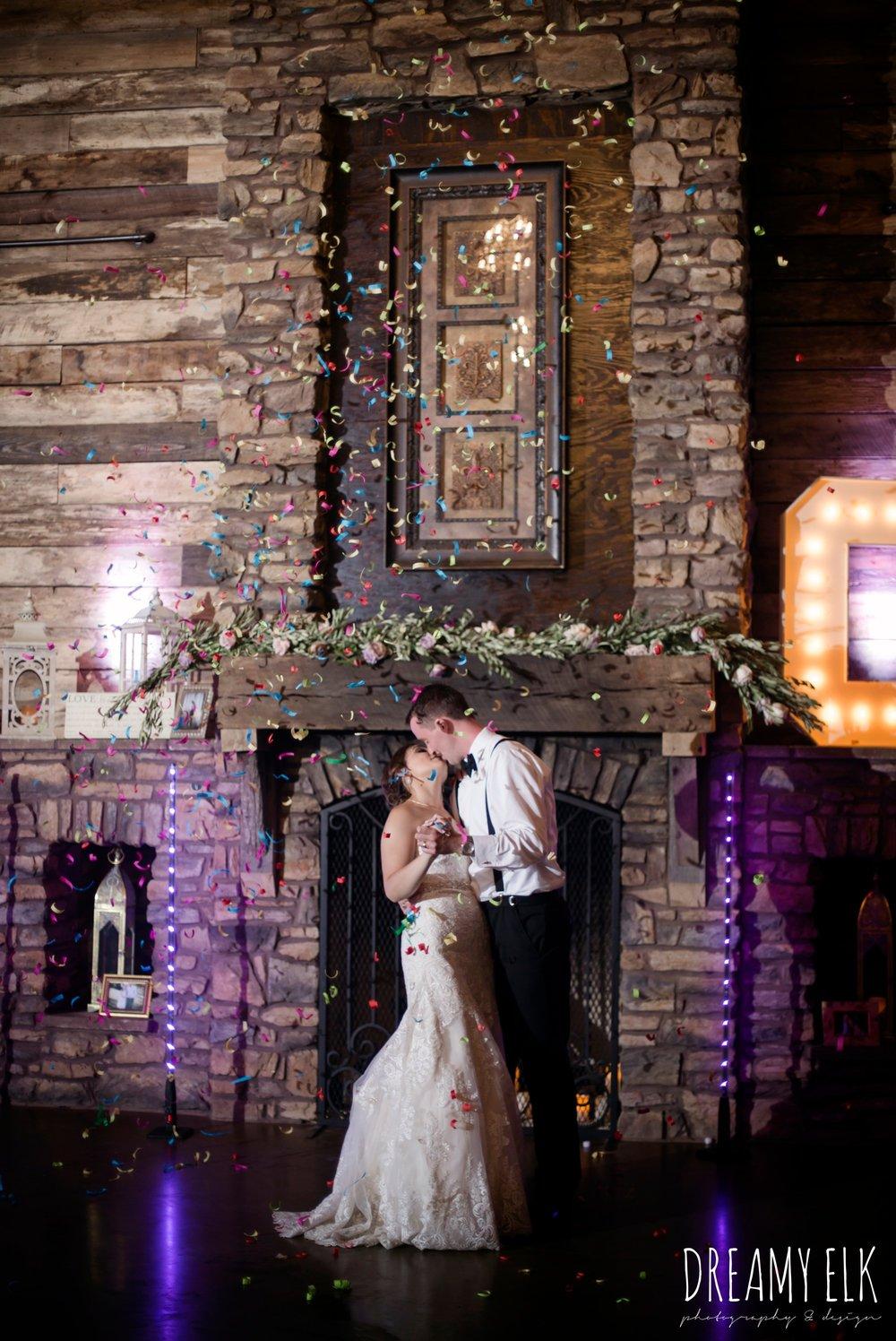 bride and groom last dance, confetti canon, summer july wedding, lavender, big sky barn, houston, texas, austin wedding photographer {dreamy elk photography and design} photo