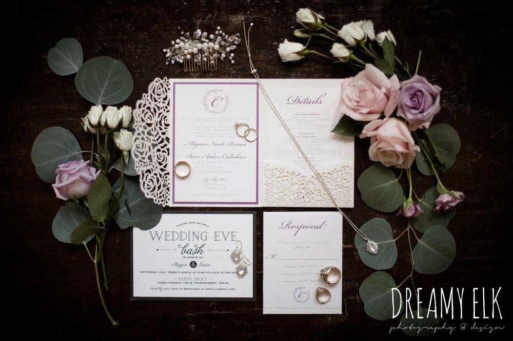 f. dellit designs, lavender and blush bouquet, wedding invitation, summer july wedding, lavender, big sky barn, houston, texas, austin wedding photographer {dreamy elk photography and design} photo