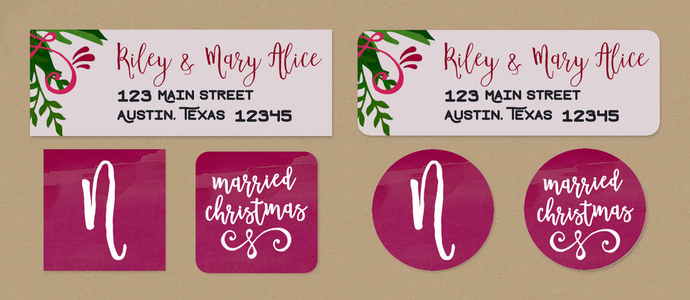 married christmas return address labels envelope seals dreamy