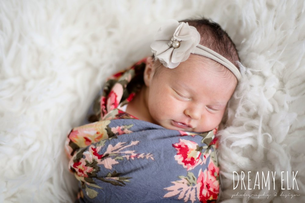 newborn baby girl photo, floral swaddle