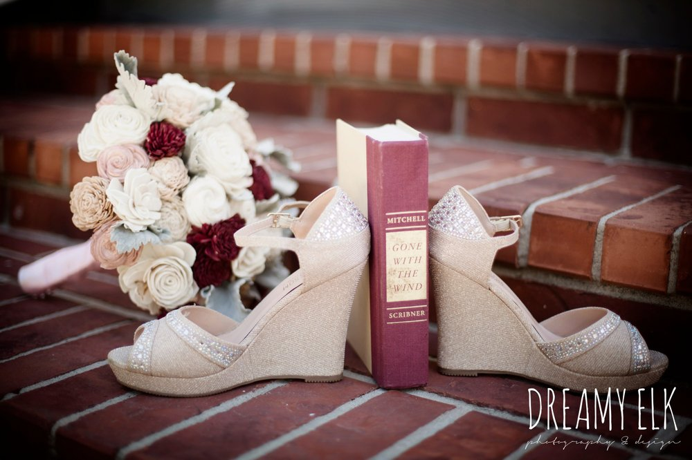 eco flowers, wooden flower bouquet, gone with the wind, de blossom wedge wedding shoes, september wedding photo, ashelynn manor, magnolia, texas, austin texas wedding photographer {dreamy elk photography and design}