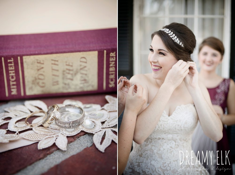 bride getting dressed, wedding jewelry, wedding rings, bride, sweetheart lace ballgown wedding dress, oyester underlay, lace trimmed veil, rhinestone headpiece, september wedding photo, ashelynn manor, magnolia, texas, austin texas wedding photographer {dreamy elk photography and design}