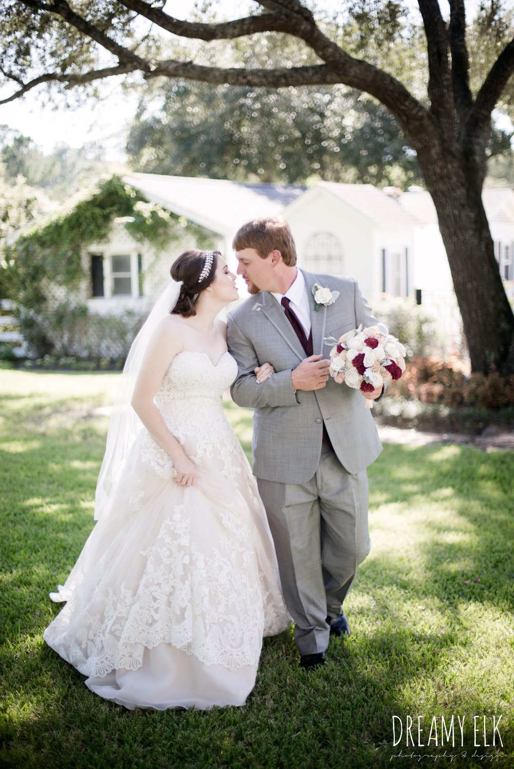 bride, sweetheart lace ballgown wedding dress, oyester underlay, lace trimmed veil, rhinestone headpiece, groom, men's wearhouse gray tux with maroon vest and tie, september wedding photo, ashelynn manor, magnolia, texas, austin texas wedding photographer {dreamy elk photography and design}