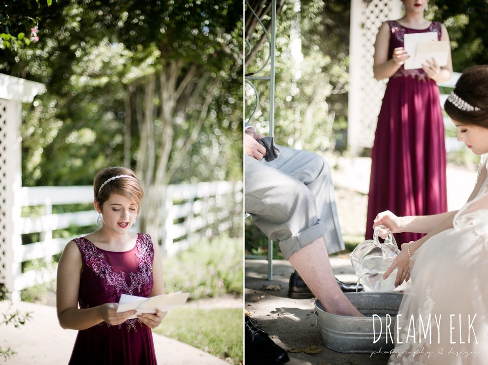 foot washing, september wedding photo, ashelynn manor, magnolia, texas, austin texas wedding photographer {dreamy elk photography and design}