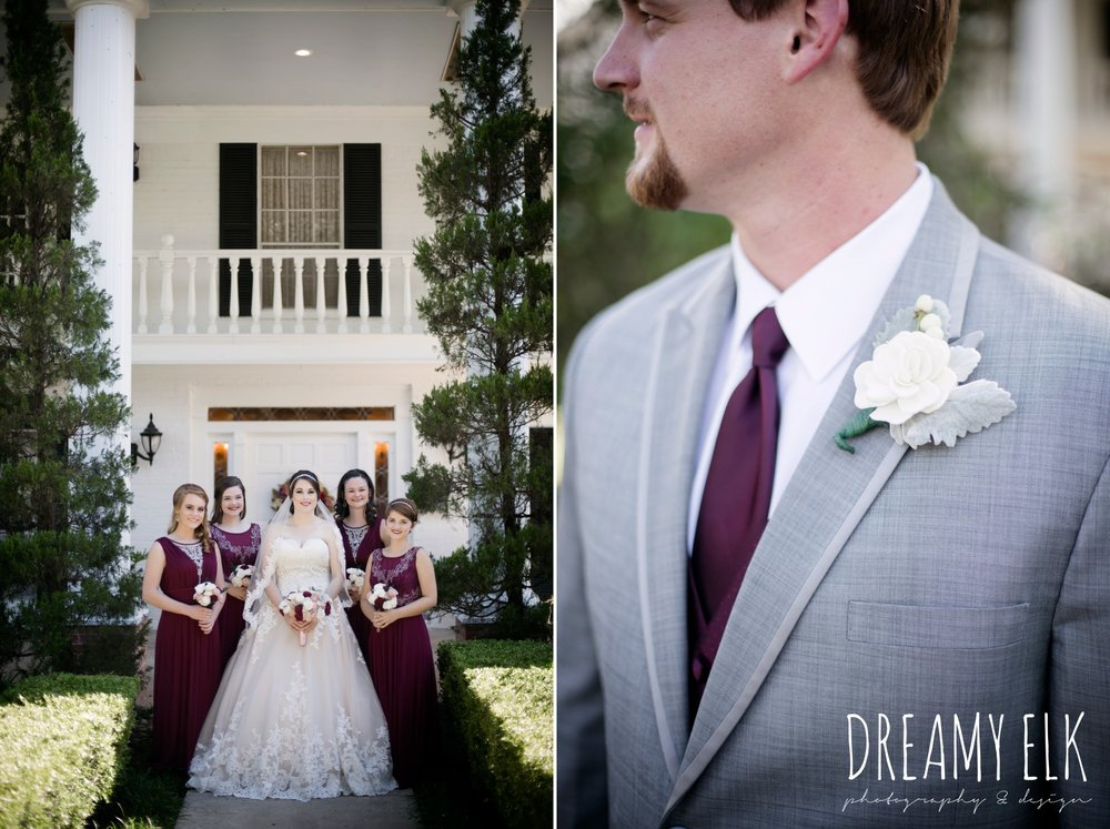 mix matched maroon long bridesmaids dress with embellishments, bride, sweetheart lace ballgown wedding dress, oyester underlay, lace trimmed veil, rhinestone headpiece, groom, men's wearhouse gray tux with maroon vest and tie, september wedding photo, ashelynn manor, magnolia, texas, austin texas wedding photographer {dreamy elk photography and design}