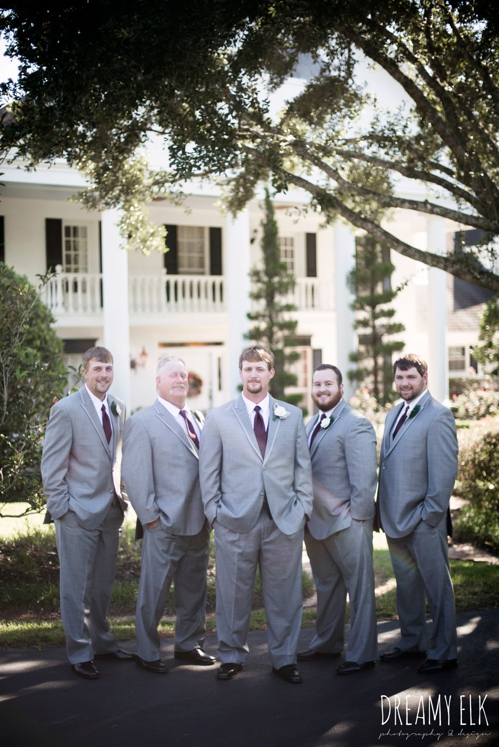 groom and groomsmen, men's wearhouse gray tux with maroon vest and tie, september wedding photo, ashelynn manor, magnolia, texas, austin texas wedding photographer {dreamy elk photography and design}