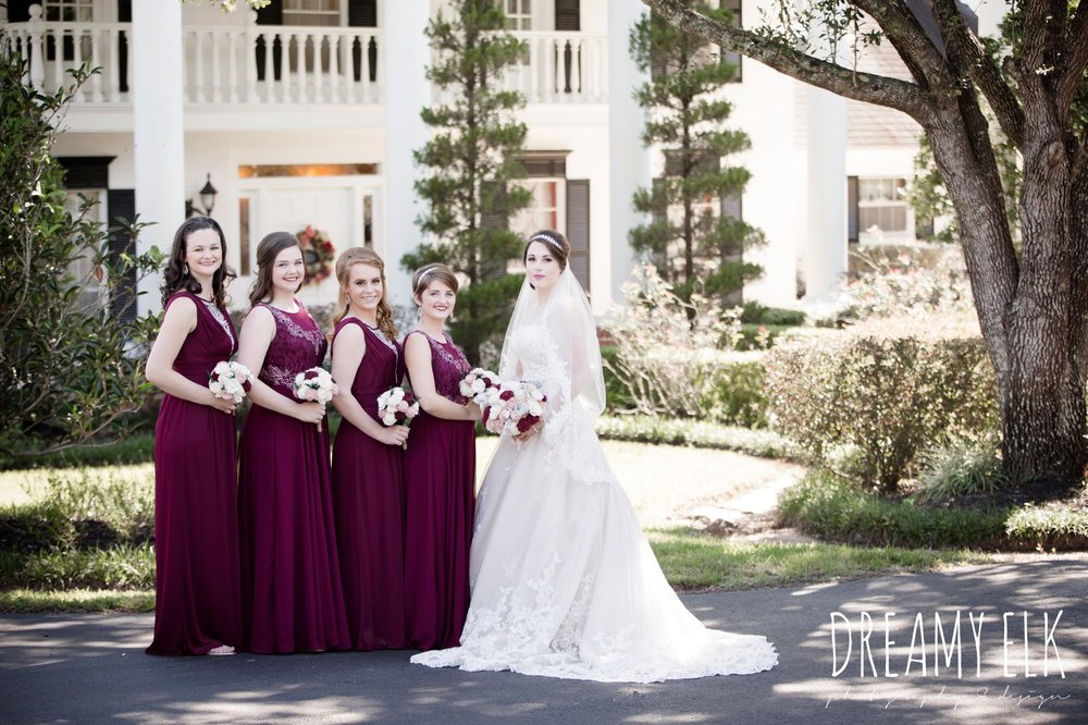 mix matched maroon long bridesmaids dress with embellishments, bride, sweetheart lace ballgown wedding dress, oyester underlay, lace trimmed veil, rhinestone headpiece, september wedding photo, ashelynn manor, magnolia, texas, austin texas wedding photographer {dreamy elk photography and design}