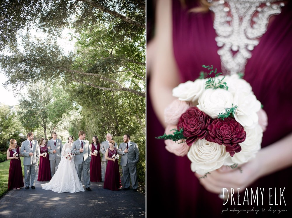 mix matched maroon long bridesmaids dress with embellishments, bride, sweetheart lace ballgown wedding dress, oyester underlay, lace trimmed veil, rhinestone headpiece, groom and groomsmen, men's wearhouse gray tux with maroon vest and tie, september wedding photo, ashelynn manor, magnolia, texas, austin texas wedding photographer {dreamy elk photography and design}