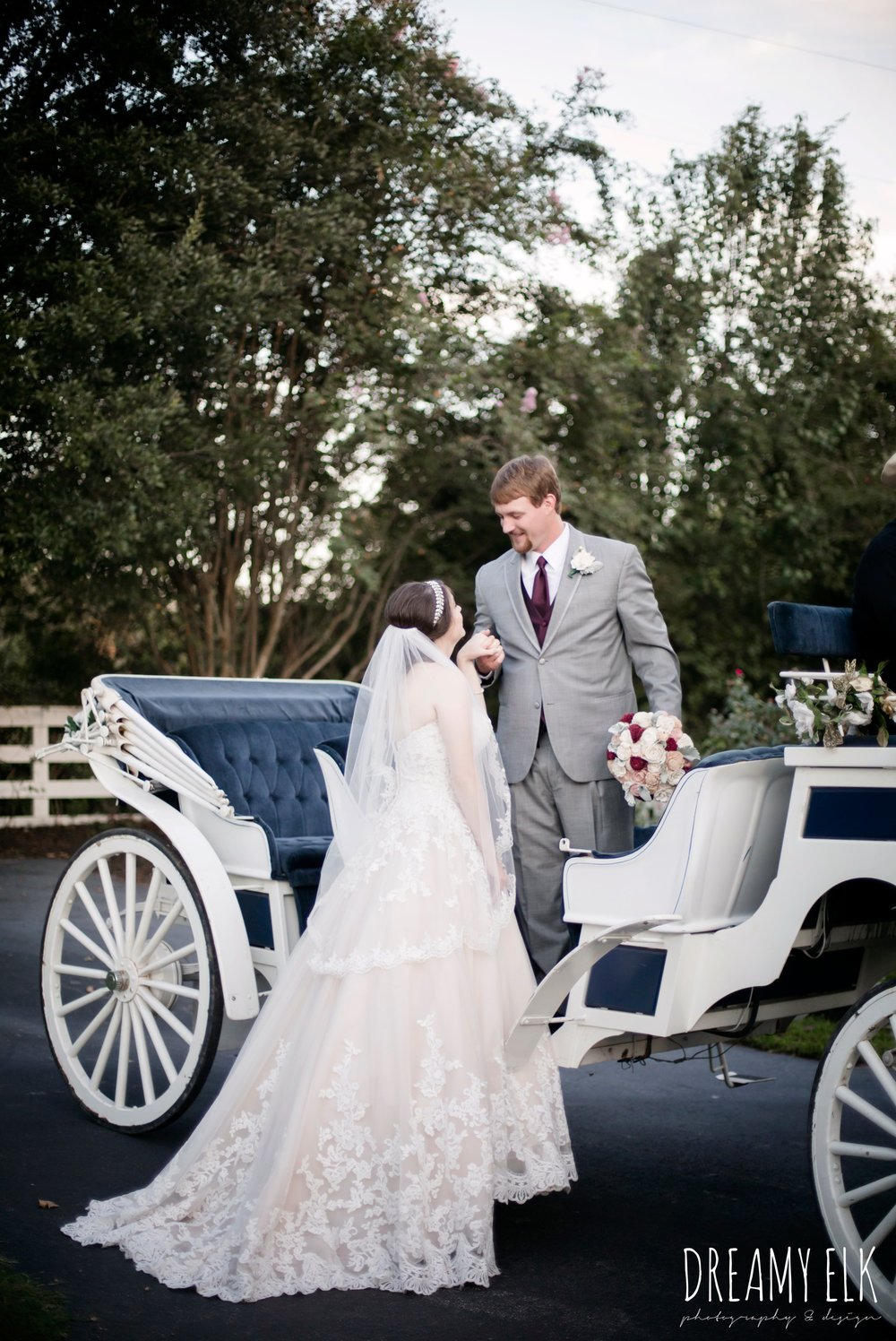 bride and groom in horse drawn carriage, classic carriage company, bride, sweetheart lace ballgown wedding dress, oyester underlay, lace trimmed veil, rhinestone headpiece, groom, men's wearhouse gray tux with maroon vest and tie, september wedding photo, ashelynn manor, magnolia, texas, austin texas wedding photographer {dreamy elk photography and design}
