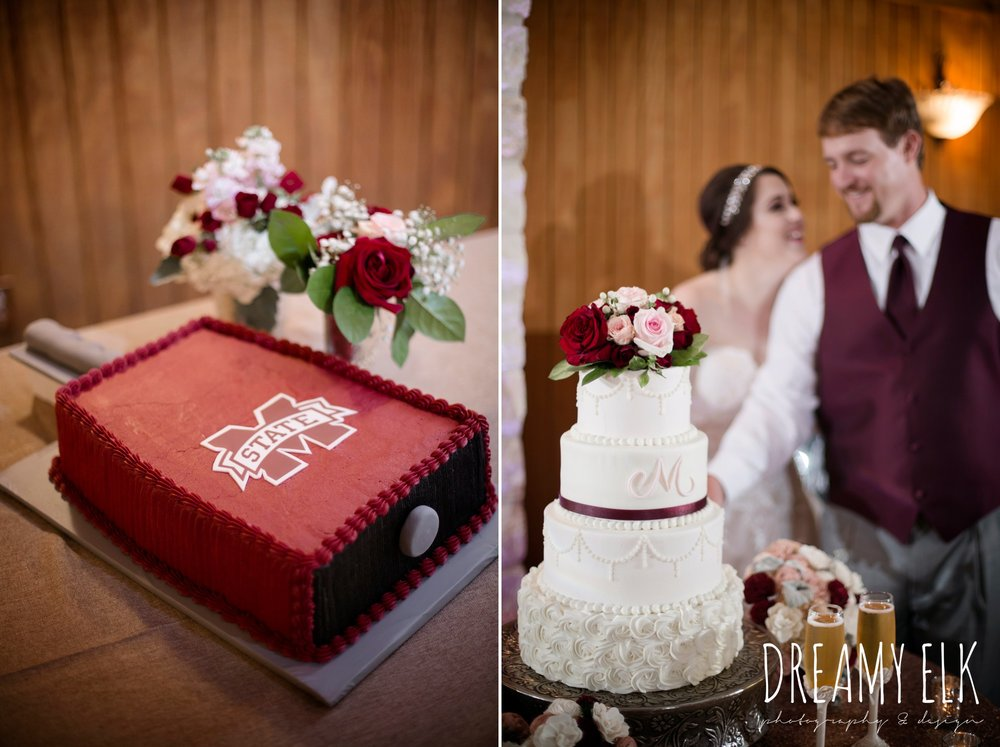 barcelona cakes, four tier white wedding cake, mississippi state cowbell groom's cake, september wedding photo, ashelynn manor, magnolia, texas, austin texas wedding photographer {dreamy elk photography and design}