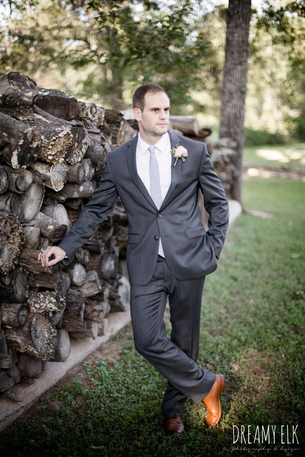 groom, gray jos a bank suit, outdoor fall october wedding photo, blush and gray wedding, balmorhea weddings and events, dreamy elk photography and design, austin texas wedding photographer