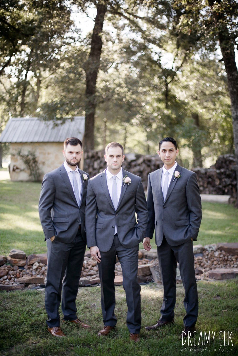 groom and groomsmen, gray jos a bank suit, outdoor fall october wedding photo, blush and gray wedding, balmorhea weddings and events, dreamy elk photography and design, austin texas wedding photographer