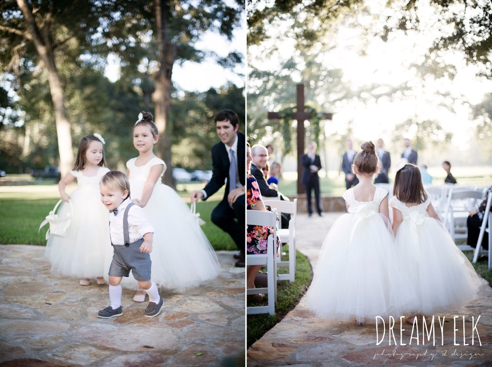 flower girls and ring bearer walking down the aisle, outdoor fall october wedding photo, blush and gray wedding, balmorhea weddings and events, dreamy elk photography and design, austin texas wedding photographer