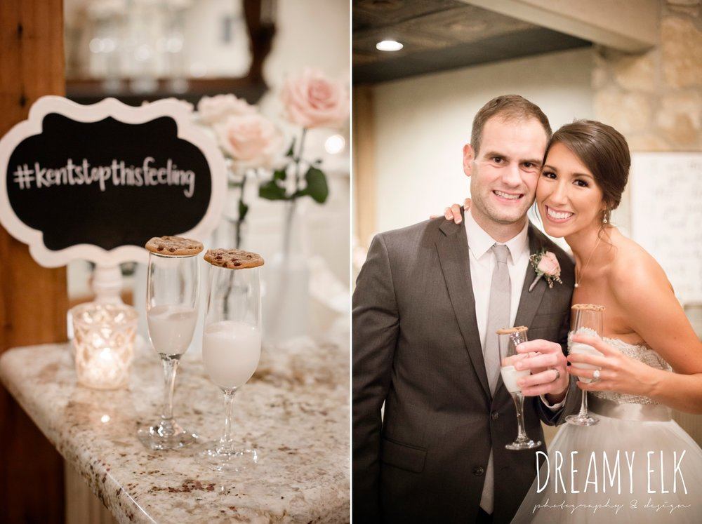 wedding reception, bride and groom, milk and cookies, outdoor fall october wedding photo, blush and gray wedding, balmorhea weddings and events, dreamy elk photography and design, austin texas wedding photographer