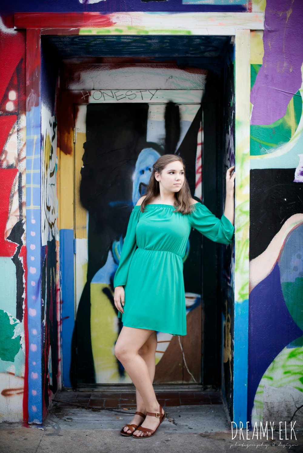 outdoor fall high school senior girl, graffiti wall, mural, downtown austin, texas {dreamy elk photography and design}