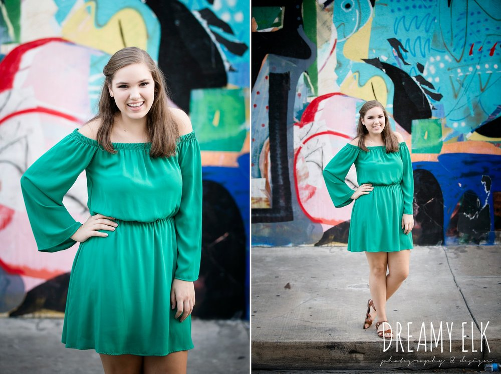 outdoor fall high school senior girl, downtown austin, texas, graffiti wall, mural {dreamy elk photography and design}