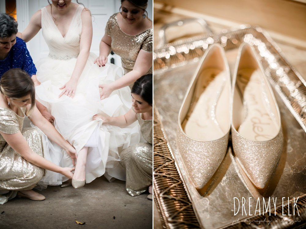 gold sequin floor length cowl back bridesmaid dress, Sam Edelman gold flat wedding shoes, bride, eddy k ballgown wedding dress with ruffles, paper flower wedding bouquet, wedding hair updo no veil, fall wedding, gold and navy wedding photo, ashelynn manor, austin texas wedding photographer, dreamy elk photography and design, emily ross
