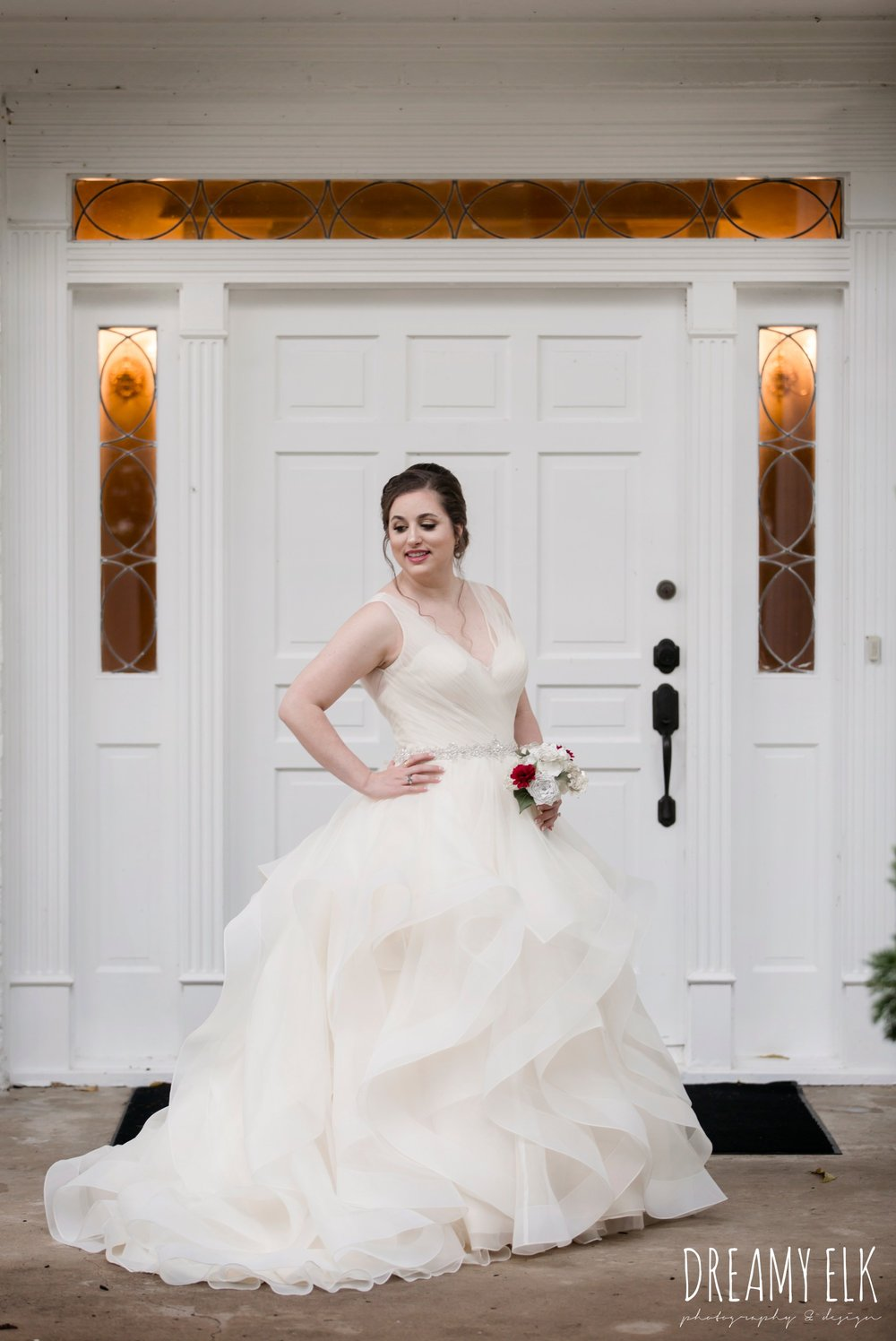 bride, eddy k ballgown wedding dress with ruffles, paper flower wedding bouquet, wedding hair updo no veil, fall wedding, gold and navy wedding photo, ashelynn manor, austin texas wedding photographer, dreamy elk photography and design, emily ross