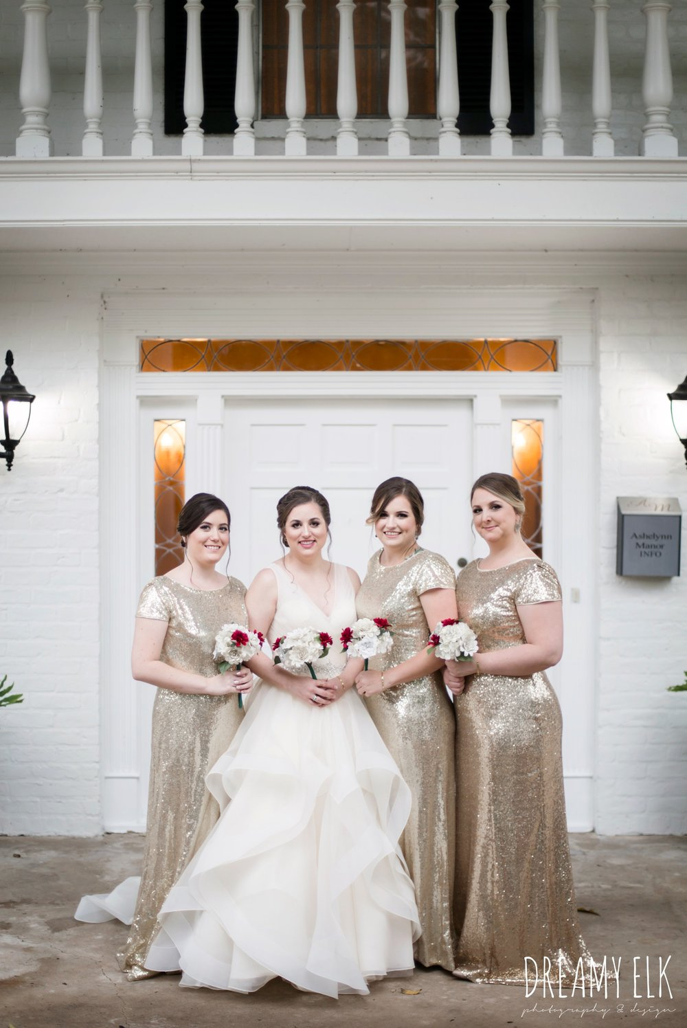 gold sequin floor length cowl back bridesmaid dress, bride, eddy k ballgown wedding dress with ruffles, paper flower wedding bouquet, wedding hair updo no veil, fall wedding, gold and navy wedding photo, ashelynn manor, austin texas wedding photographer, dreamy elk photography and design, emily ross