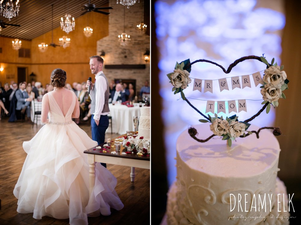 toasts at wedding, cake topper, bride, eddy k ballgown wedding dress with ruffles, paper flower wedding bouquet, wedding hair updo no veil, fall wedding, gold and navy wedding photo, ashelynn manor, austin texas wedding photographer, dreamy elk photography and design, emily ross
