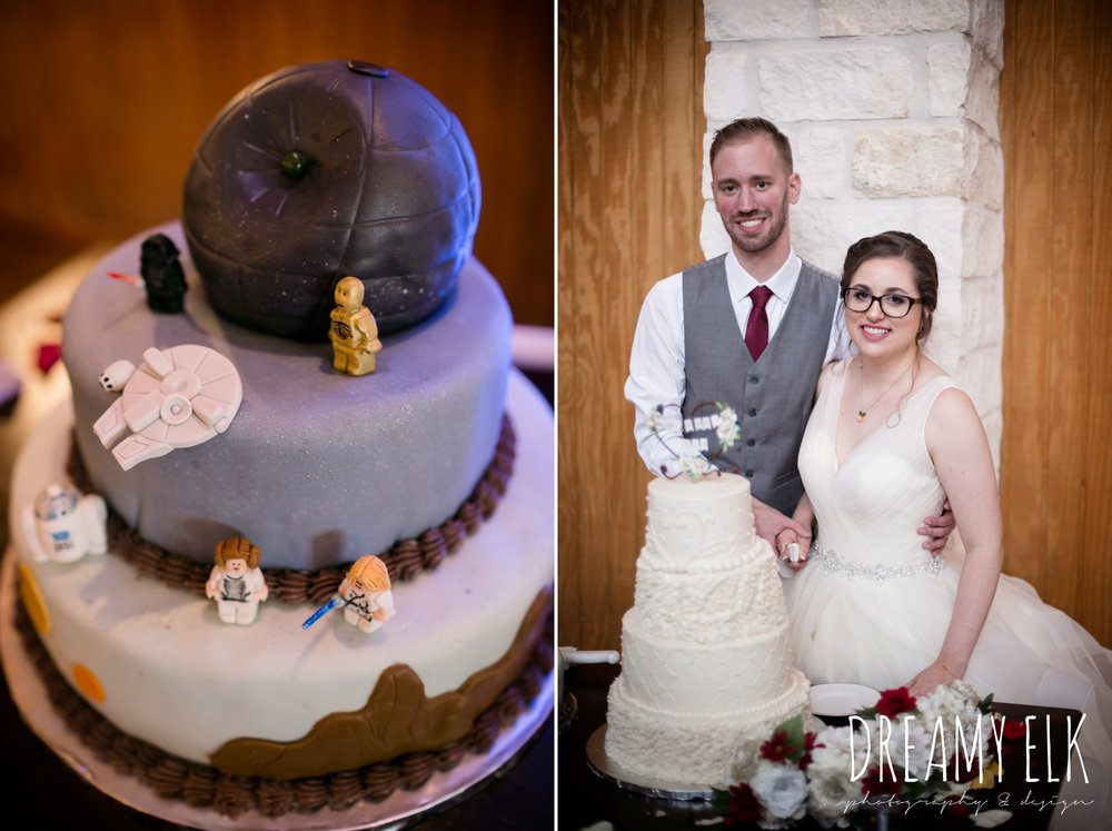star wars groom's cake, bride and groom cutting the cake, fall wedding, gold and navy wedding photo, ashelynn manor, austin texas wedding photographer, dreamy elk photography and design, emily ross