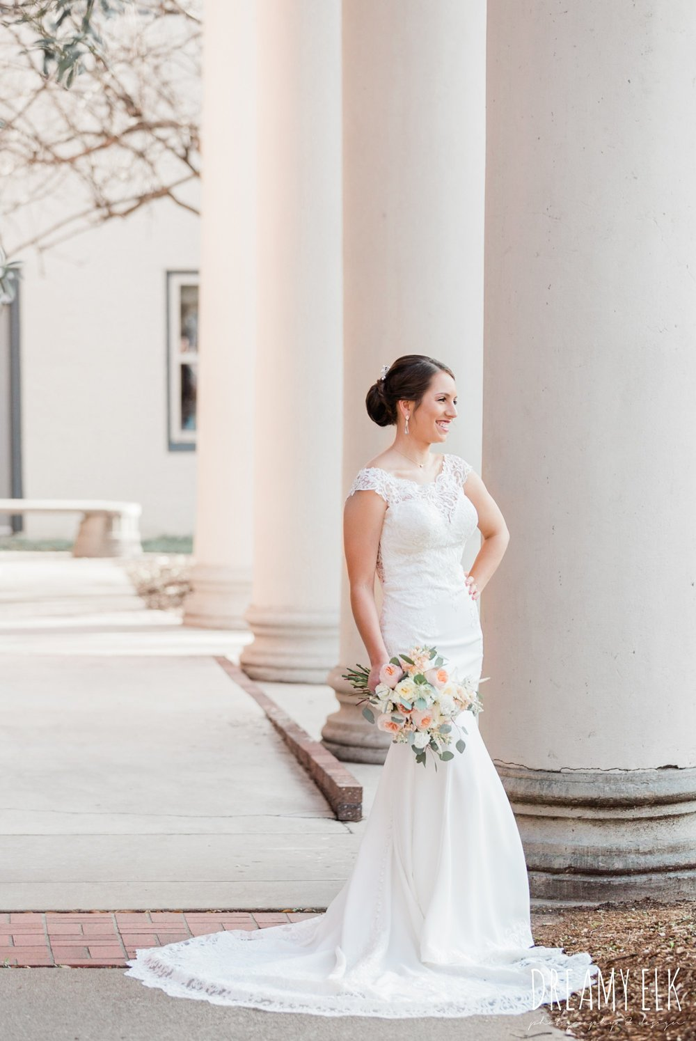 essense of australia column wedding dress downtown bryan texas, outdoor spring bridal photo, dreamy elk photography and design