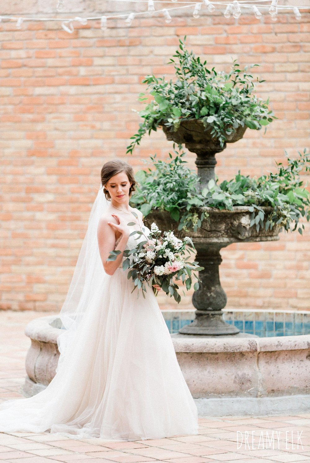 sweetheart tulle bhldn wedding dress, outdoor spring bridal photo, the gallery, houston, texas, dreamy elk photography and design