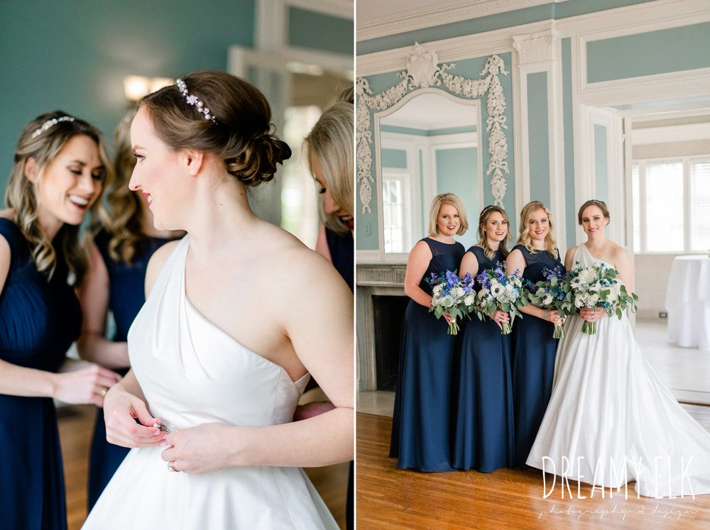 long navy bridesmaid watters dress, wedding hair updo, modern wedding dress ballgown, spring wedding, the astin mansion, bryan, texas, spring wedding, dreamy elk photography and design