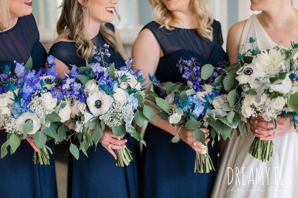 carriage house floral design, blue wedding bouquet, navy bridesmaid dress, spring wedding, the astin mansion, bryan, texas, spring wedding, dreamy elk photography and design