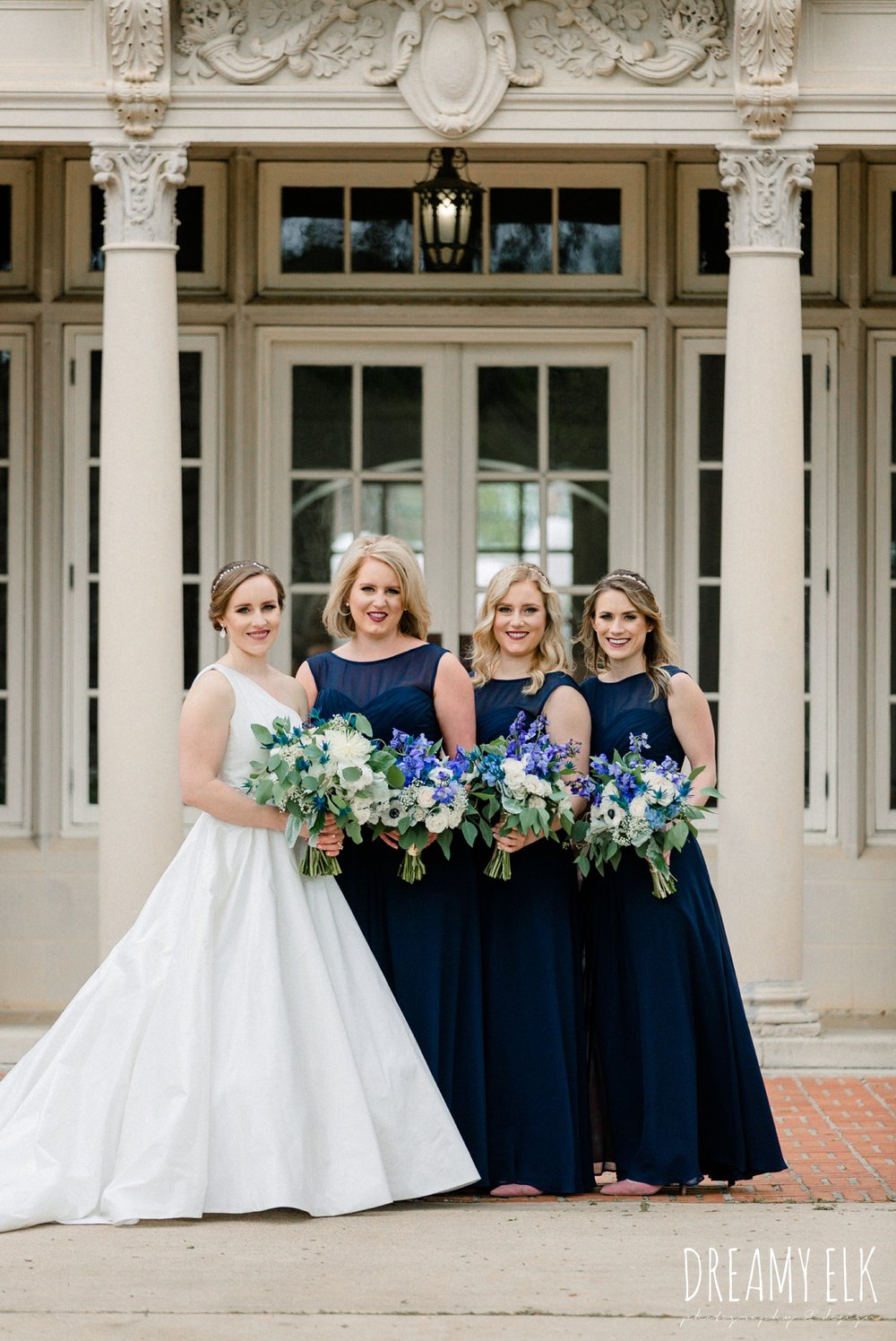 blue wedding bouquet, long navy bridesmaid dress, modern wedding dress ballgown, spring wedding, the astin mansion, bryan, texas, spring wedding, dreamy elk photography and design
